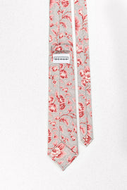 Grey and Pink French Floral Skinny Tie