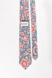 Blue and Pink French Floral Skinny Necktie