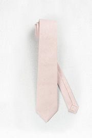 Light Dusty Blush Linen Skinny Necktie