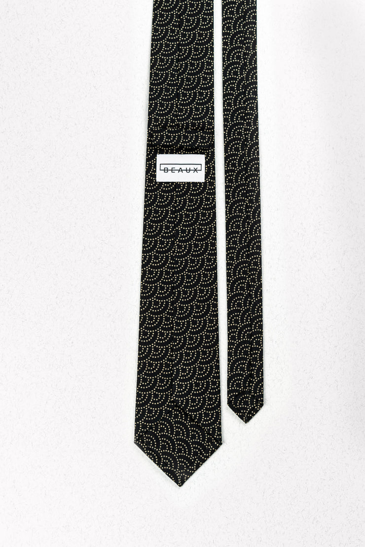 Black Japanese Rounds Skinny Necktie