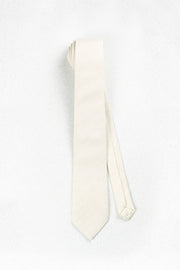 Cream Herringbone Wool Skinny Necktie