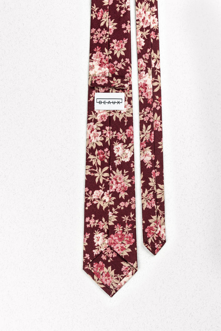 Burgundy and Mauve Floral Skinny Necktie