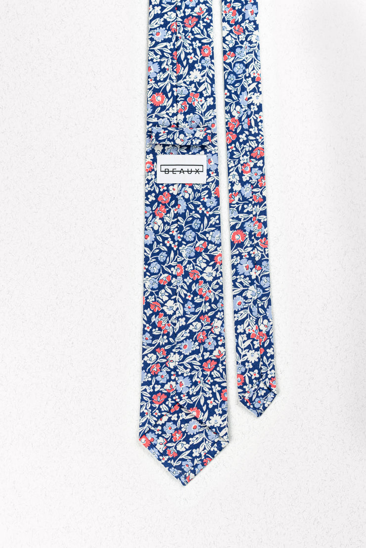 Blue and Coral Floral Skinny Necktie