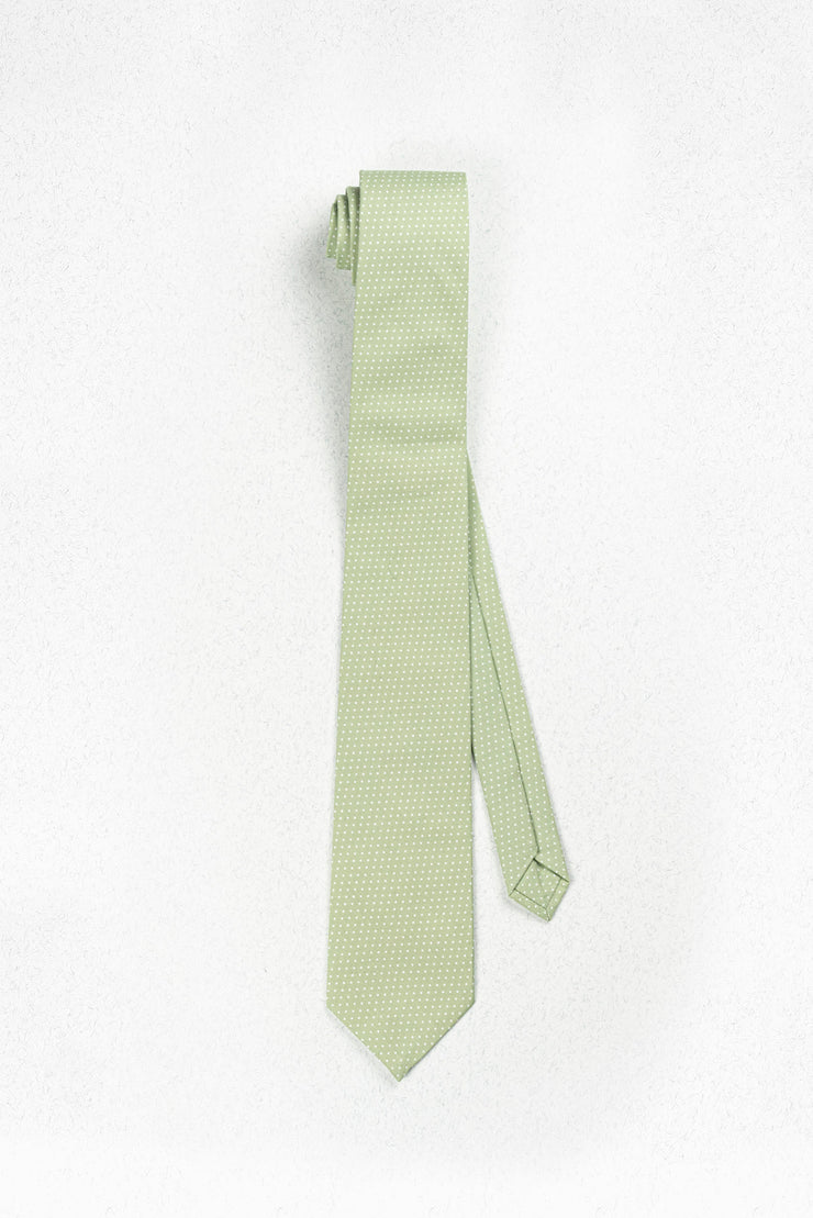 Small Sage Green and White Polka Dot Skinny Necktie