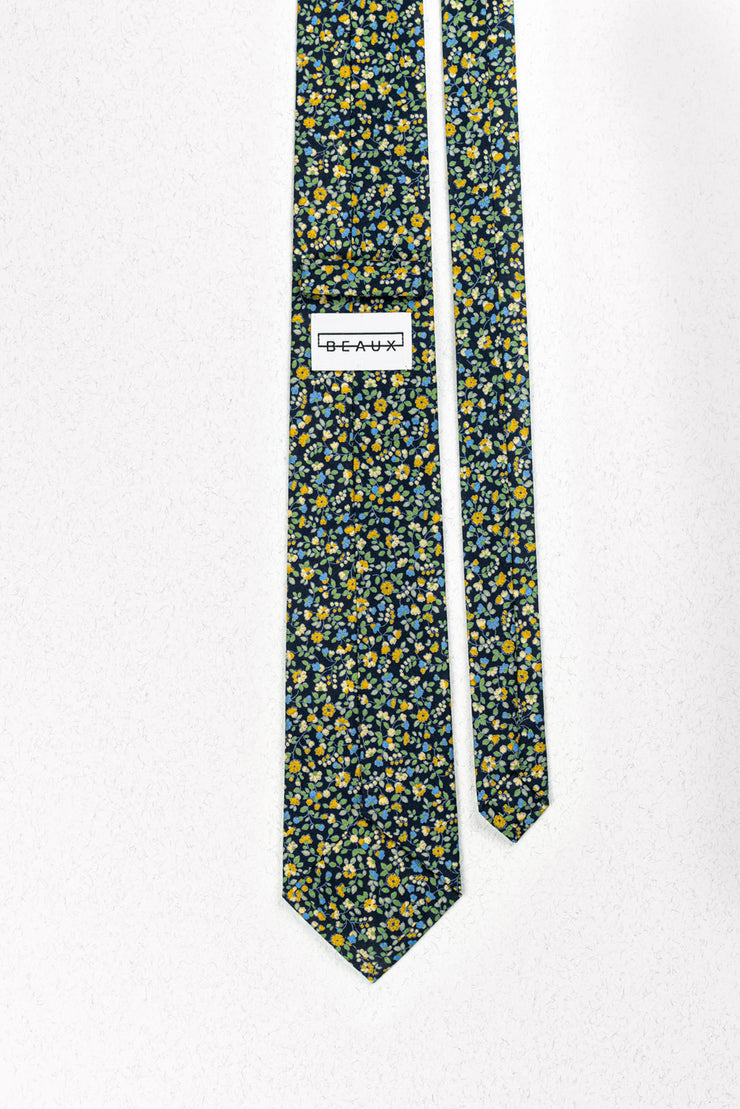 Buttercup Blue Floral Skinny Necktie
