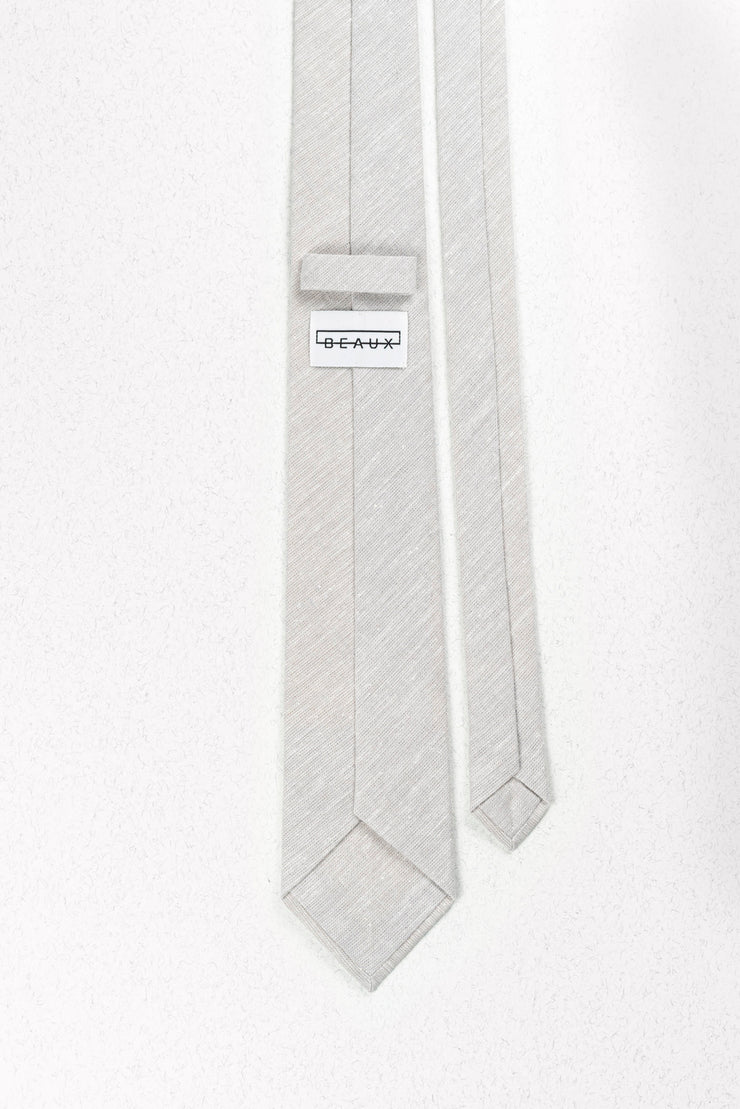 Heathered Dove Grey Linen Skinny Necktie