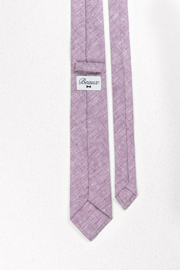 Heathered Lavender Purple Linen Skinny Necktie