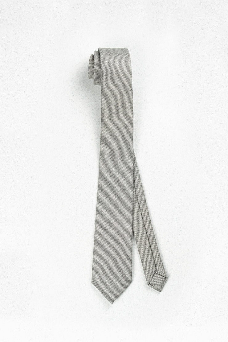 Heathered Grey Italian Wool Skinny Necktie
