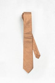 Rose Gold Bronze Raw Silk Skinny Necktie