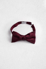 Burgundy Raw Silk Self Tie Bow Tie