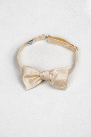 Ivory Cream Silk Self Tie Bow Tie