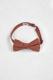 Cherry Bronze Raw Silk Self Tie Bow Tie