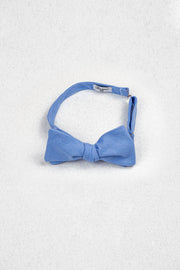 Cornflower Blue Linen Self Tie Bow Tie