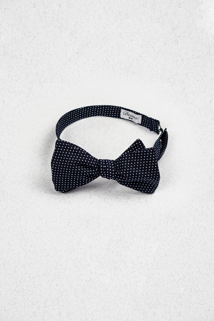 Small Navy and White Polka Dot Self Tie Bow Tie