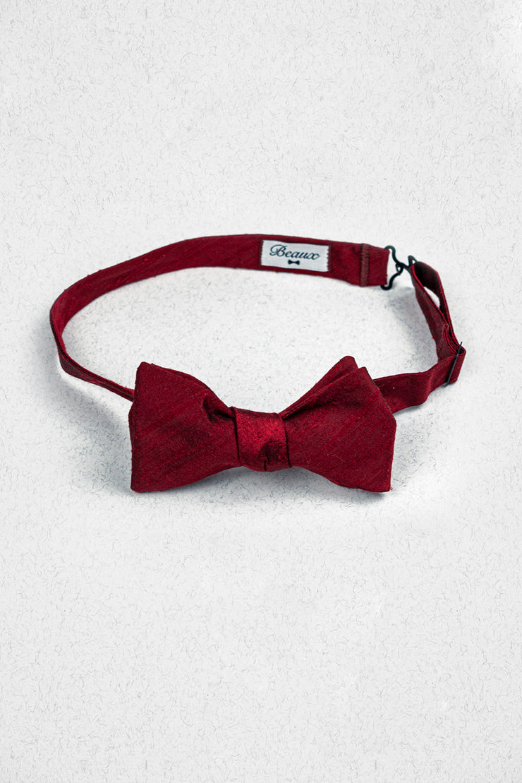 Red Raw Silk Self Tie Bow Tie