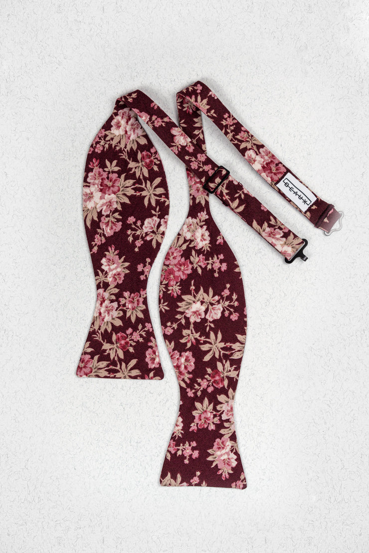 Burgundy and Mauve Floral Self Tie Bow Tie