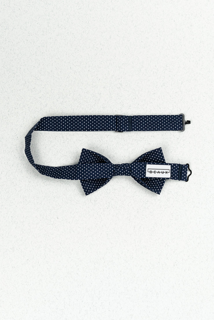 Small Navy and White Polka Dot Pre-Tied Bow Tie