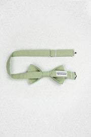 Small Sage Green and White Polka Dot Pre-Tied Bow Tie