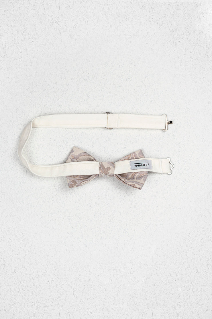 Rose Gold and Cream Paisley Junior Pre-Tied Bow Tie