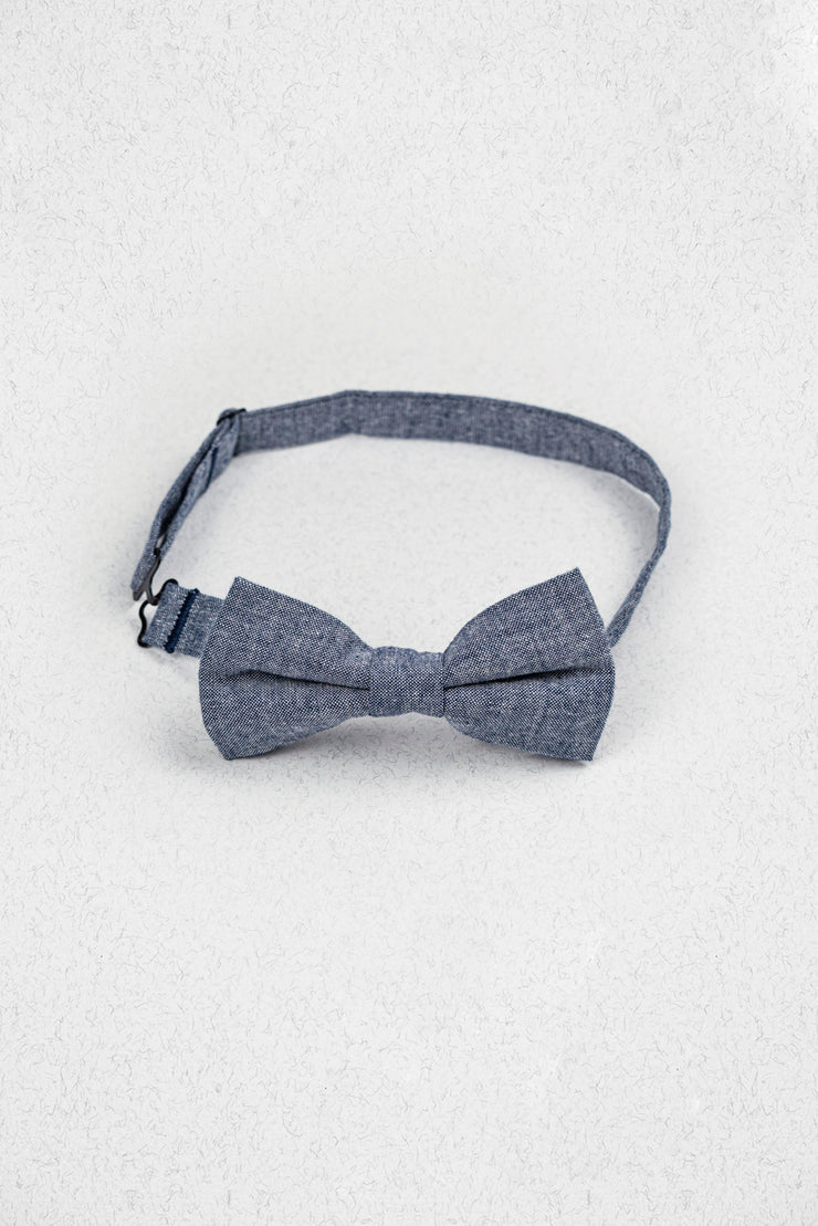 Navy Blue Chambray Pre-Tied Bow Tie