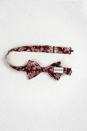 Burgundy and Mauve Floral Pre-Tied Bow Tie
