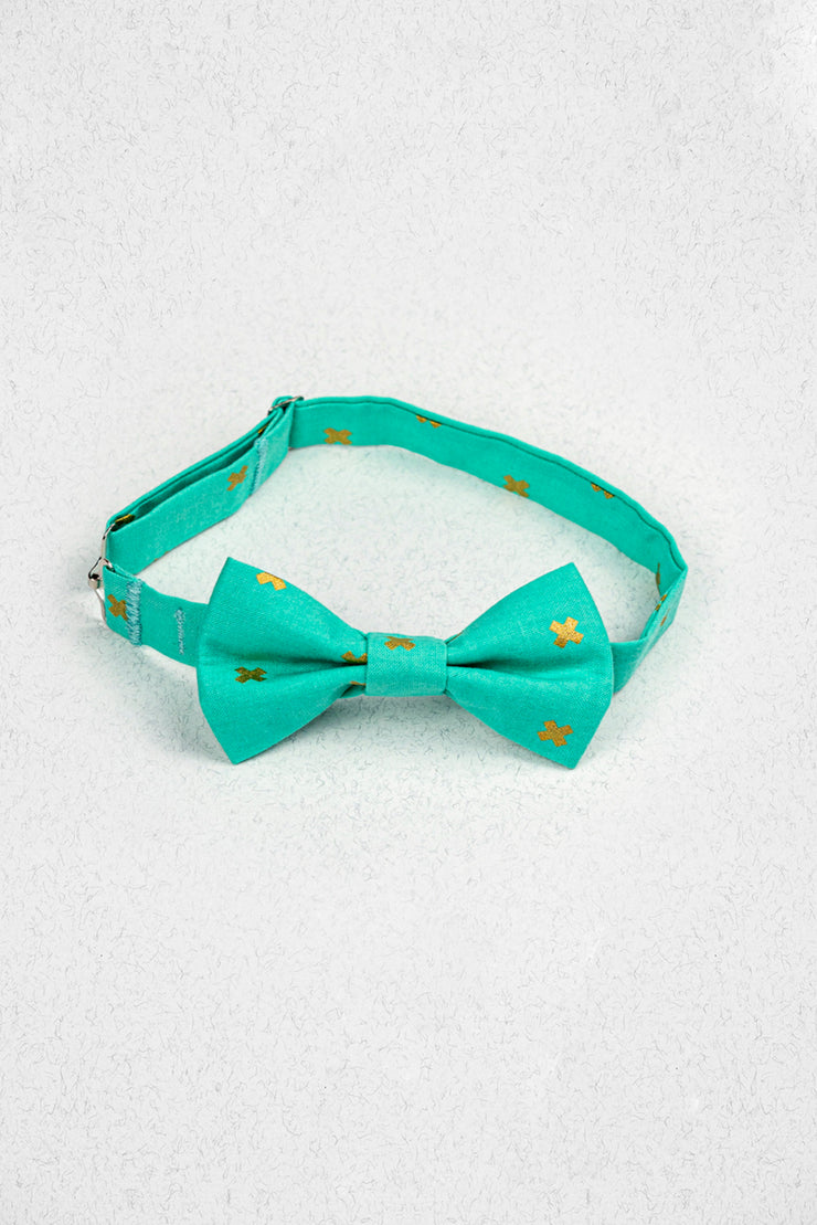 Turquoise X Marks the Spot Junior Pre-Tied Bow Tie
