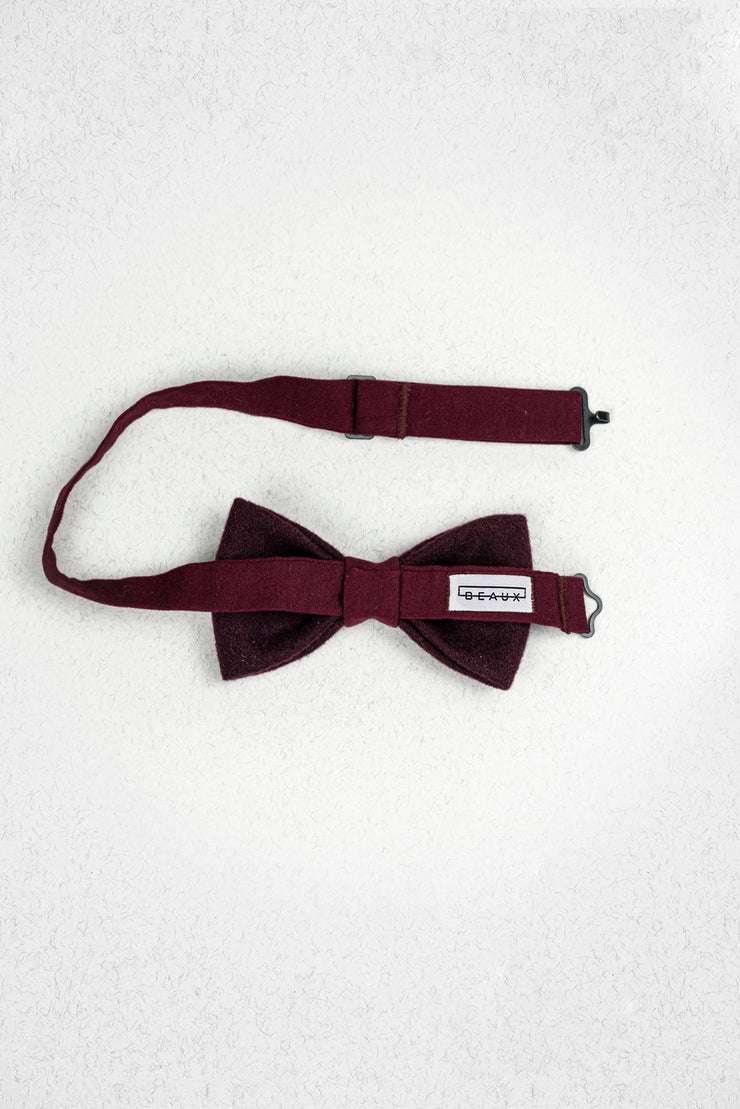 Cranberry Tweed Wool and Cotton Pre-Tied Bow Tie