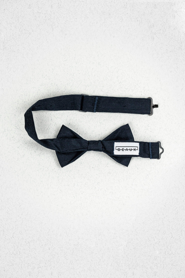 Midnight Navy Raw Silk Junior Pre-Tied Bow Tie