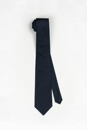 Midnight Navy Raw Silk Skinny Necktie