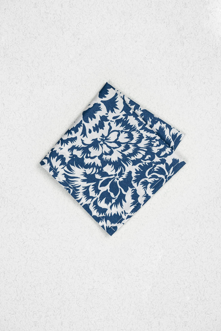 Blue and White Floral Pocket Square