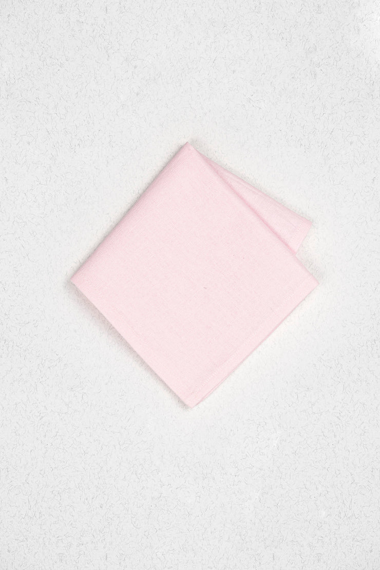 Hand-Dyed Blush Pink Linen Pocket Square