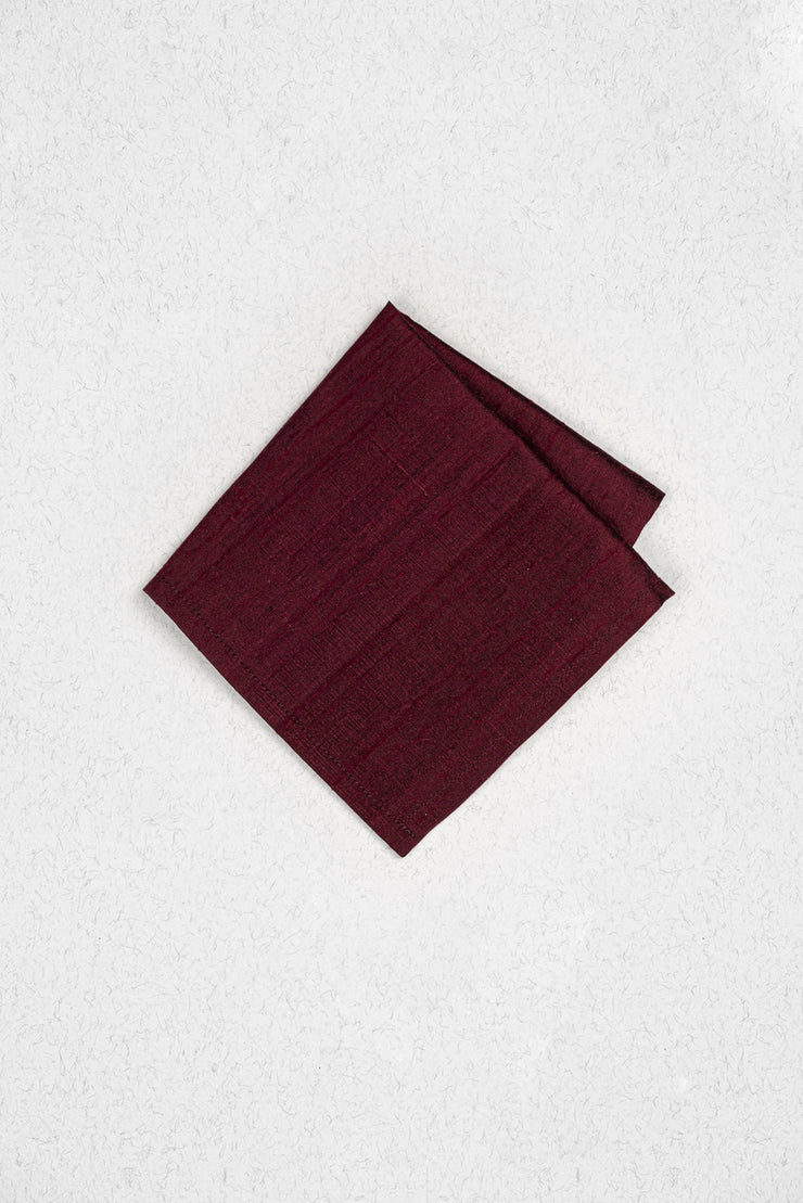 Burgundy Raw Silk Pocket Square