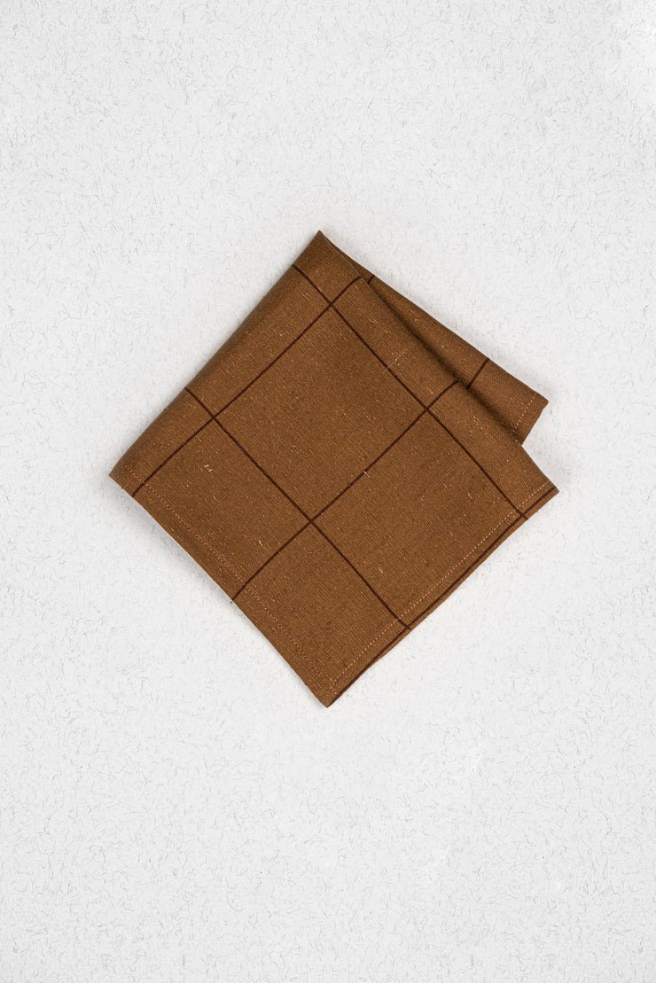 Cedar Check Raw Silk Pocket Square