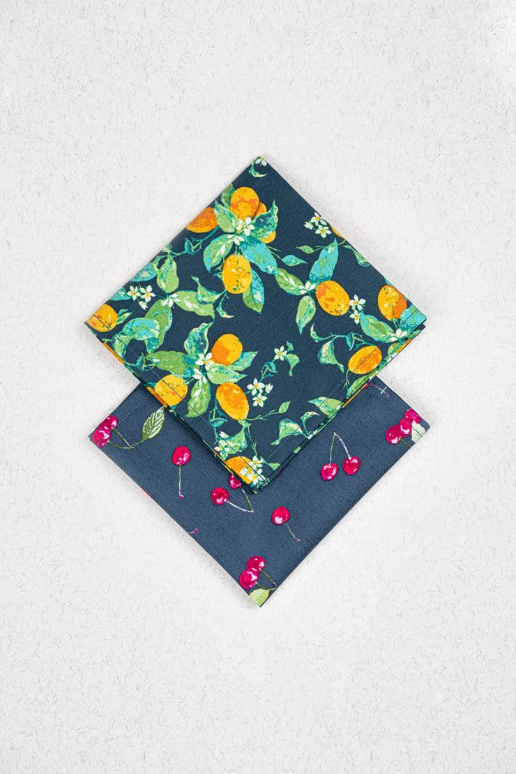 Fresh Fruit Japanese Cotton Pocket Square Set