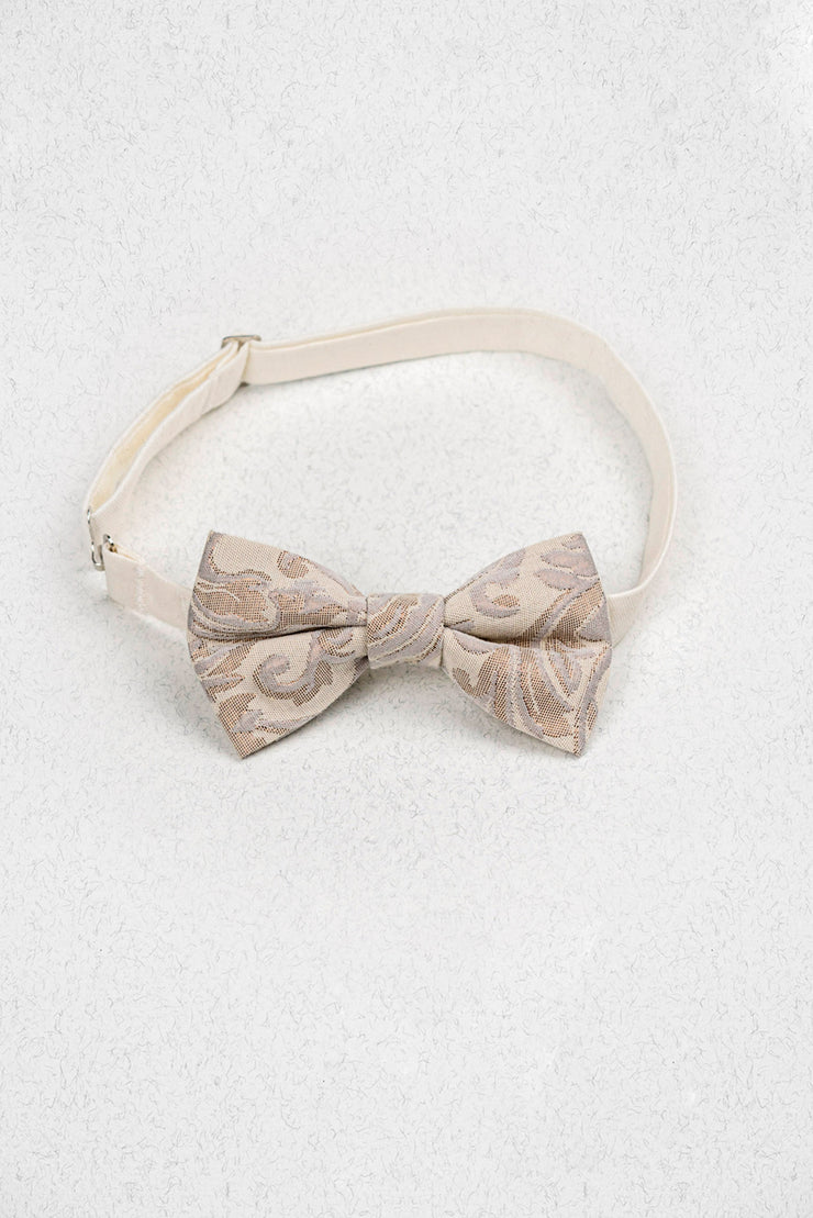 Rose Gold and Cream Paisley Pre-Tied Bow Tie