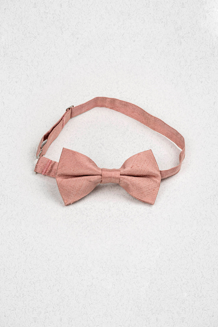 Dusty Rose Raw Silk Junior Pre-Tied Bow Tie