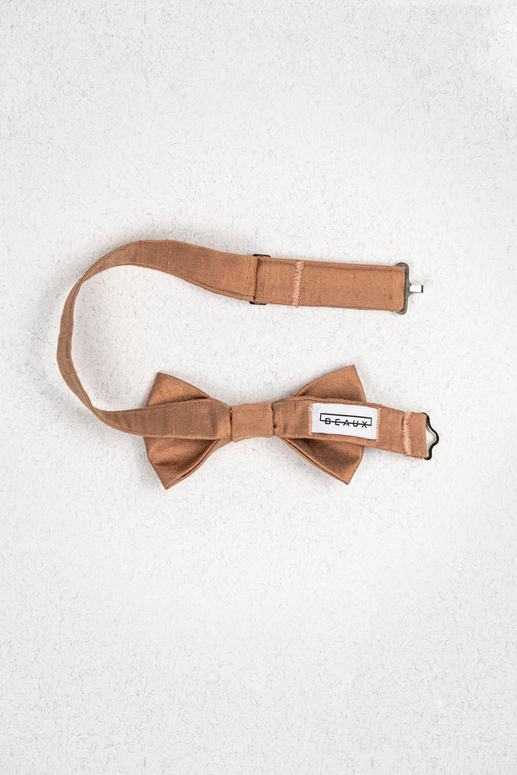 Rose Gold Bronze Raw Silk Pre-Tied Junior Bow Tie