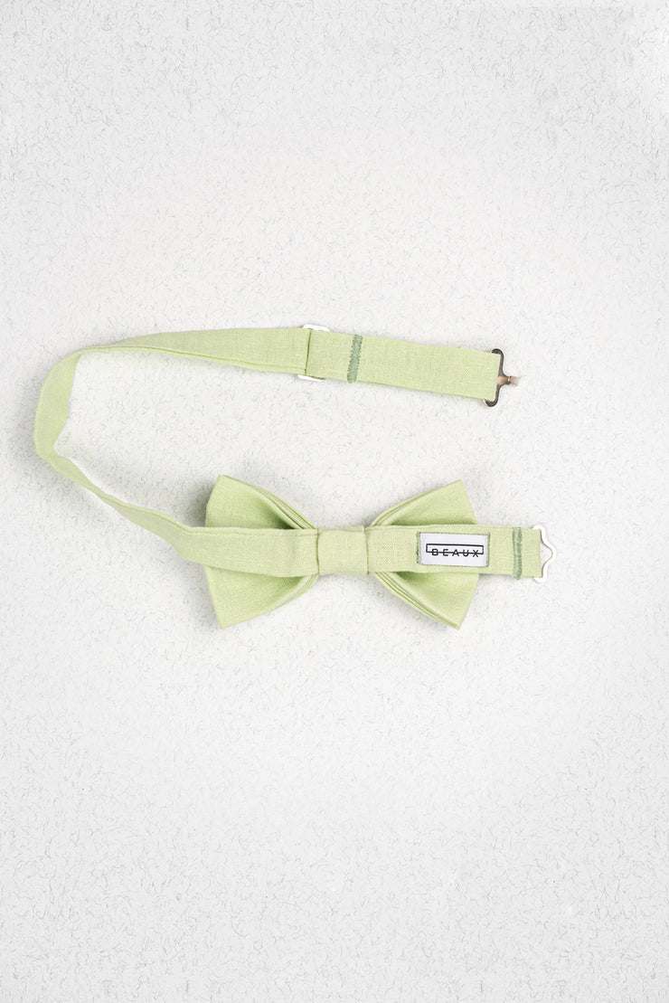Light Lime Green Linen Pre-Tied Bow Tie