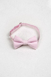 Light Pink Seersucker Junior Pre-Tied Bow Tie