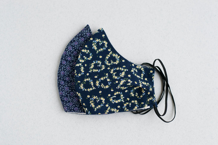 Navy Floral PPE Mask Pair