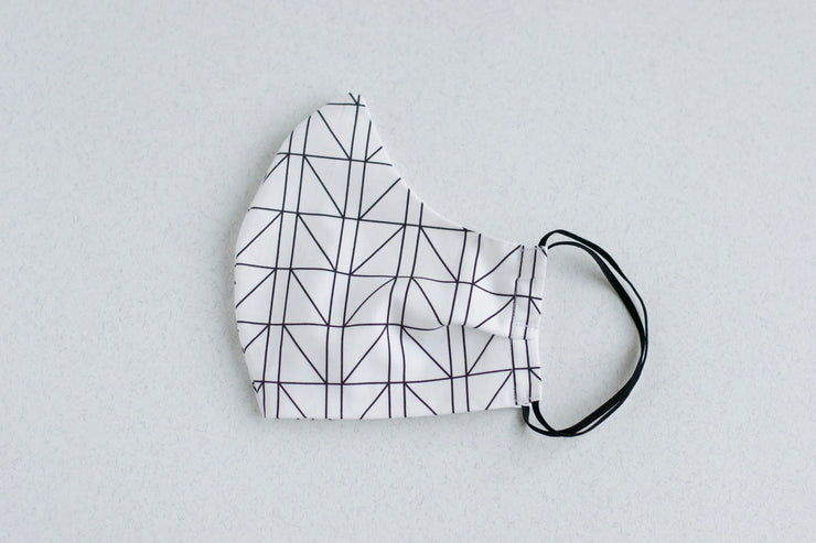 White Geometric PPE Single Mask