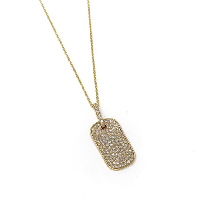 All Diamond Dog Tag Necklace