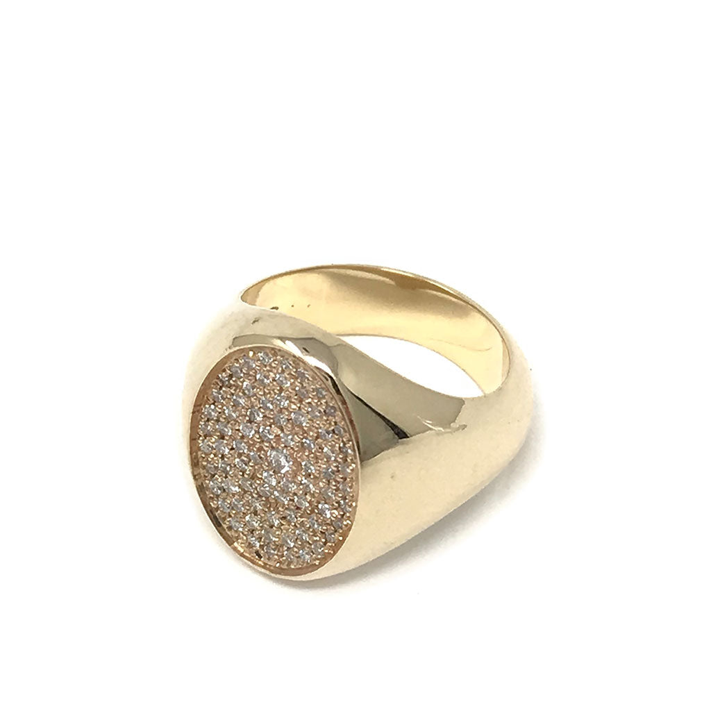 All Diamond Signet Ring