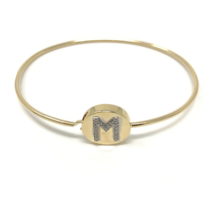 Round Face Initial Bangle