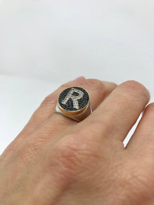 2 Tone Medium Oval Signet Ring