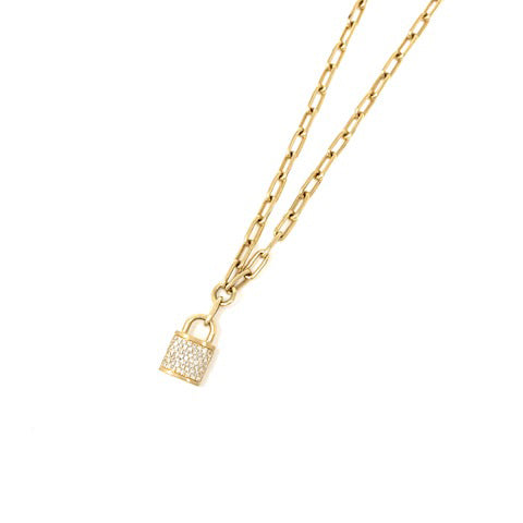 Pave Diamond Lock Necklace