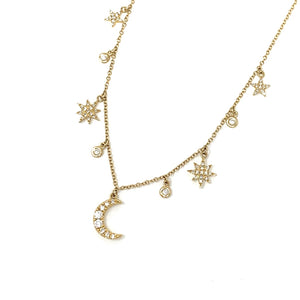 Mini Moon and Stars Charm Necklace