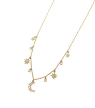 Load image into Gallery viewer, Mini Moon and Stars Charm Necklace