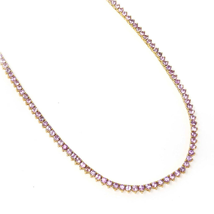 Pink Sapphire Tennis Necklace