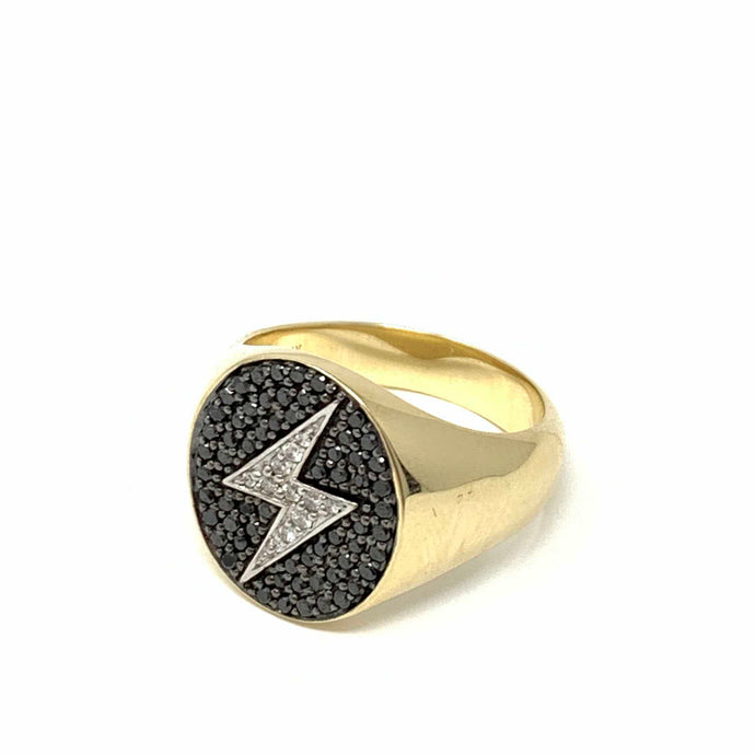 Lightning Bolt Medium Oval Signet Ring